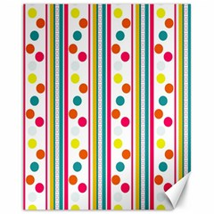 Stripes Polka Dots Pattern Canvas 11  x 14