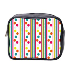 Stripes Polka Dots Pattern Mini Toiletries Bag 2-Side