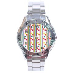 Stripes Polka Dots Pattern Stainless Steel Analogue Watch