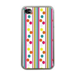 Stripes Polka Dots Pattern Apple Iphone 4 Case (clear)