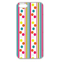 Stripes Polka Dots Pattern Apple Seamless Iphone 5 Case (clear)