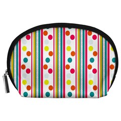 Stripes Polka Dots Pattern Accessory Pouches (large)