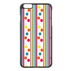 Stripes Polka Dots Pattern Apple Iphone 6 Plus/6s Plus Black Enamel Case