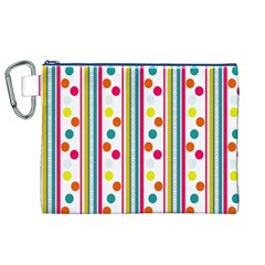 Stripes Polka Dots Pattern Canvas Cosmetic Bag (xl)