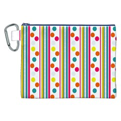 Stripes Polka Dots Pattern Canvas Cosmetic Bag (XXL)