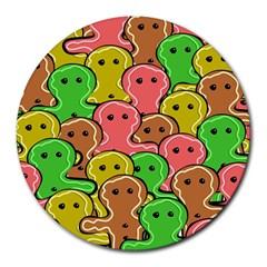 Sweet Dessert Food Gingerbread Men Round Mousepads