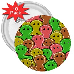 Sweet Dessert Food Gingerbread Men 3  Buttons (10 pack)