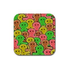 Sweet Dessert Food Gingerbread Men Rubber Square Coaster (4 pack)