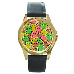 Sweet Dessert Food Gingerbread Men Round Gold Metal Watch