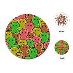Sweet Dessert Food Gingerbread Men Playing Cards (Round)