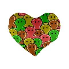 Sweet Dessert Food Gingerbread Men Standard 16  Premium Heart Shape Cushions