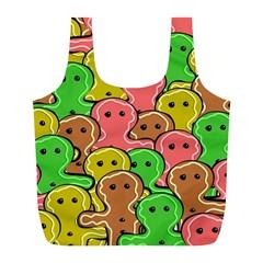 Sweet Dessert Food Gingerbread Men Full Print Recycle Bags (l)