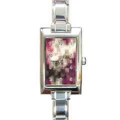 Stylized Rose Pattern Paper, Cream And Black Rectangle Italian Charm Watch