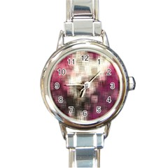 Stylized Rose Pattern Paper, Cream And Black Round Italian Charm Watch