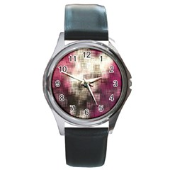 Stylized Rose Pattern Paper, Cream And Black Round Metal Watch