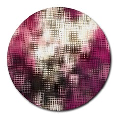 Stylized Rose Pattern Paper, Cream And Black Round Mousepads