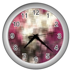 Stylized Rose Pattern Paper, Cream And Black Wall Clocks (silver)