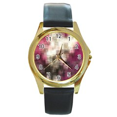 Stylized Rose Pattern Paper, Cream And Black Round Gold Metal Watch