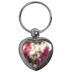 Stylized Rose Pattern Paper, Cream And Black Key Chains (heart)