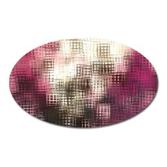 Stylized Rose Pattern Paper, Cream And Black Oval Magnet