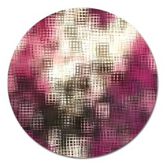 Stylized Rose Pattern Paper, Cream And Black Magnet 5  (Round)