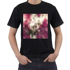 Stylized Rose Pattern Paper, Cream And Black Men s T-Shirt (Black) (Two Sided)