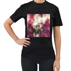 Stylized Rose Pattern Paper, Cream And Black Women s T Shirt (black) (two Sided)