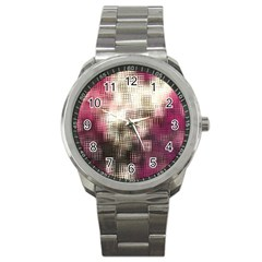 Stylized Rose Pattern Paper, Cream And Black Sport Metal Watch
