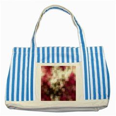 Stylized Rose Pattern Paper, Cream And Black Striped Blue Tote Bag