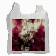 Stylized Rose Pattern Paper, Cream And Black Recycle Bag (One Side)