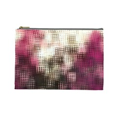 Stylized Rose Pattern Paper, Cream And Black Cosmetic Bag (Large)