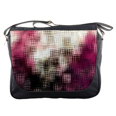 Stylized Rose Pattern Paper, Cream And Black Messenger Bags
