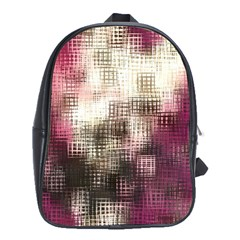 Stylized Rose Pattern Paper, Cream And Black School Bags (xl)