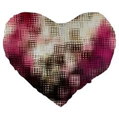 Stylized Rose Pattern Paper, Cream And Black Large 19  Premium Heart Shape Cushions