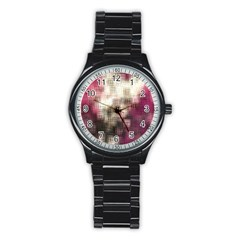 Stylized Rose Pattern Paper, Cream And Black Stainless Steel Round Watch