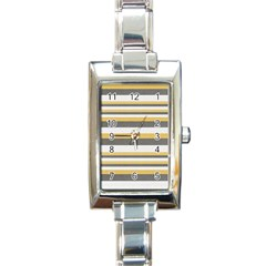 Textile Design Knit Tan White Rectangle Italian Charm Watch