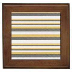 Textile Design Knit Tan White Framed Tiles