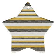 Textile Design Knit Tan White Ornament (Star)