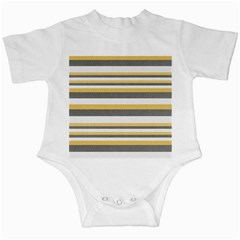 Textile Design Knit Tan White Infant Creepers