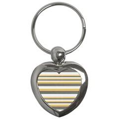 Textile Design Knit Tan White Key Chains (Heart)