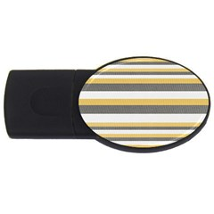 Textile Design Knit Tan White Usb Flash Drive Oval (2 Gb)