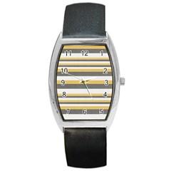 Textile Design Knit Tan White Barrel Style Metal Watch