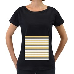 Textile Design Knit Tan White Women s Loose Fit T Shirt (black)