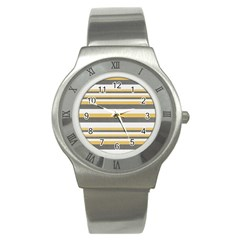 Textile Design Knit Tan White Stainless Steel Watch