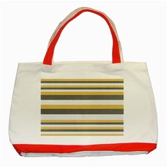 Textile Design Knit Tan White Classic Tote Bag (red)