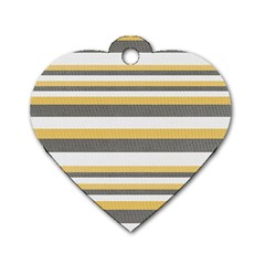 Textile Design Knit Tan White Dog Tag Heart (Two Sides)