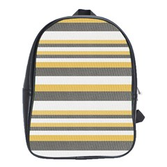Textile Design Knit Tan White School Bags(Large)