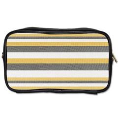 Textile Design Knit Tan White Toiletries Bags 2 Side