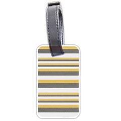 Textile Design Knit Tan White Luggage Tags (One Side)