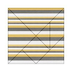 Textile Design Knit Tan White Acrylic Tangram Puzzle (6  x 6 )